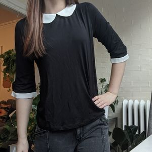 Forever 21Black and White Collared Blouse Shirt